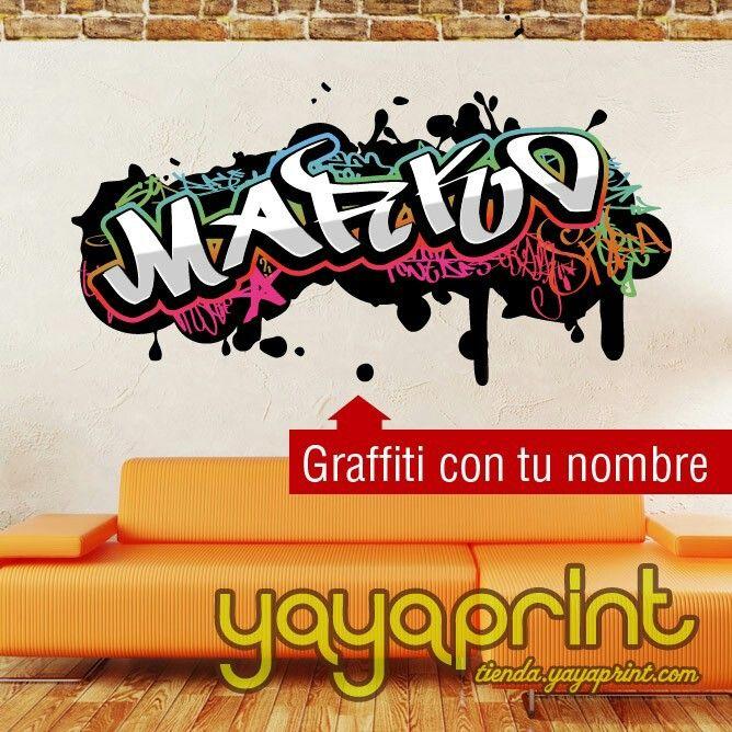 Graffiti personalizado con tu nombre en vinilo graffiti for Vinilos habitacion juvenil nina