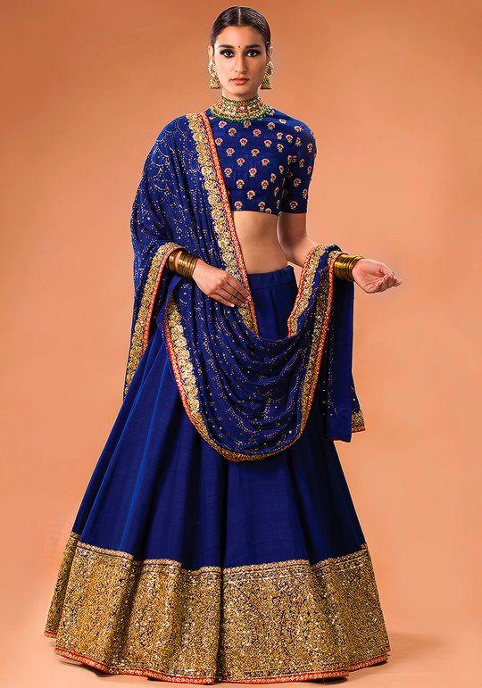cf1e6ecec208c Gorgeous ink blue and gold lehenga by Sabyasachi Mukherjee Heritage Bridal  2016. Indian bridal fashion.
