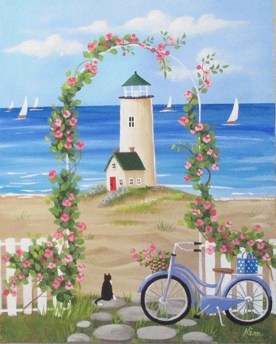 Dreaming of Summer Folk Art Print от KimsCottageArt на Etsy
