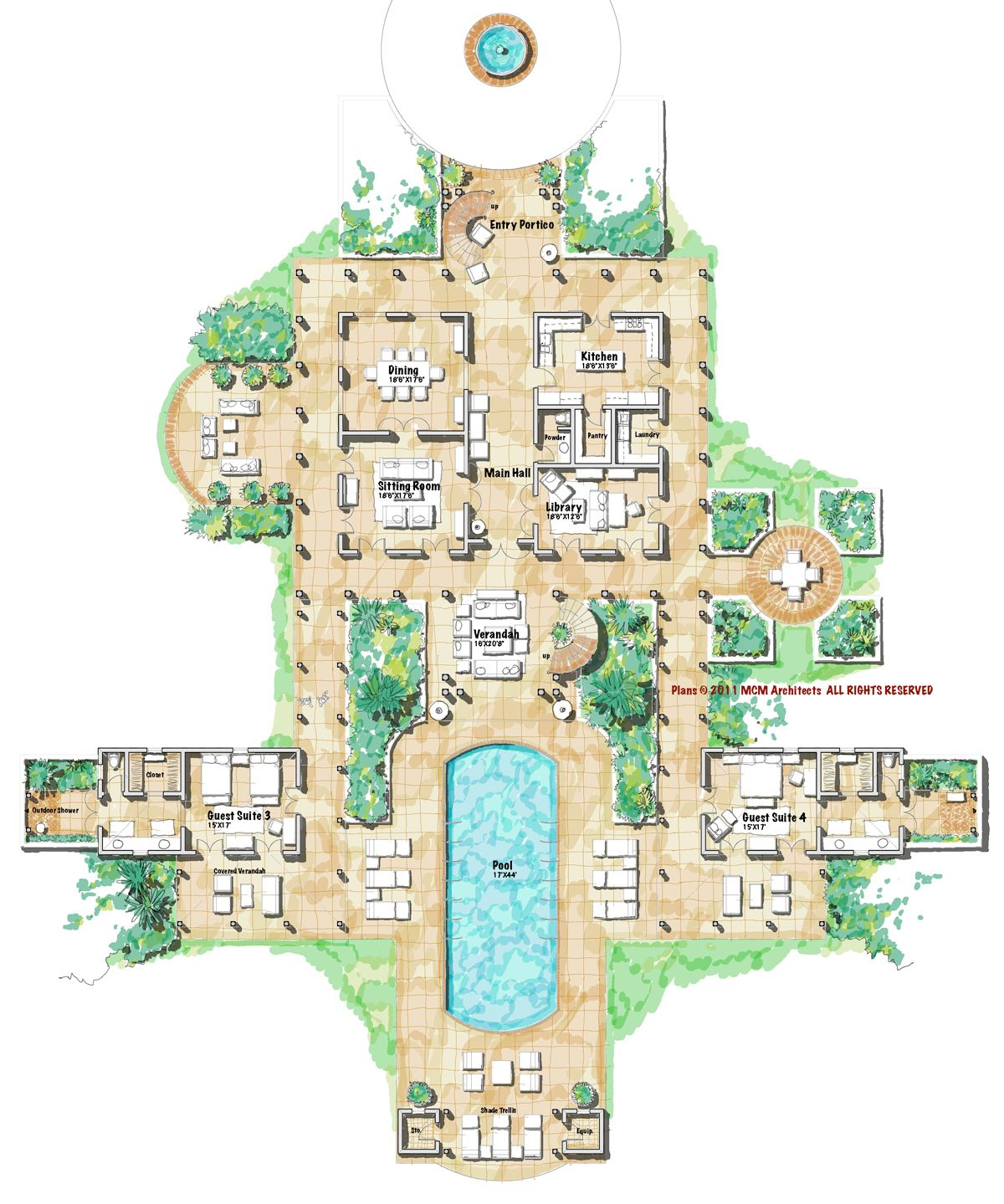 Main Level Plan Upper Level Plan The Wrap Around Veranda Has Often Been Used In Tropical Climates Beca Island House House Plans Courtyard House Plans