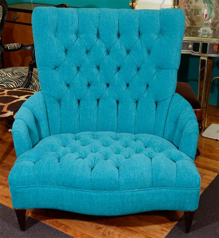 Vintage Turquoise Blue Tufted Chair And A Half Image 2