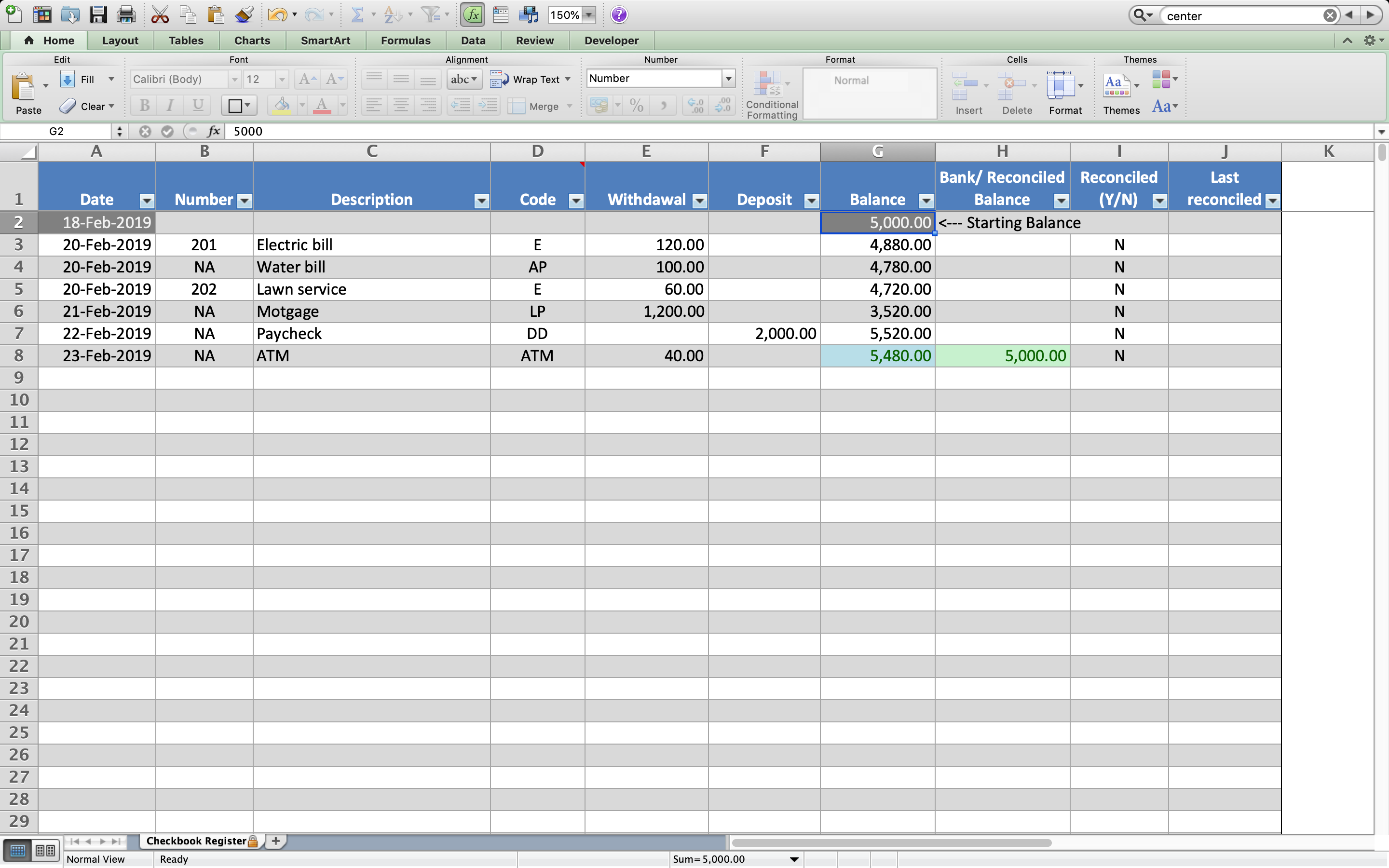 Know The Balance In Your Checking Account With This Excel