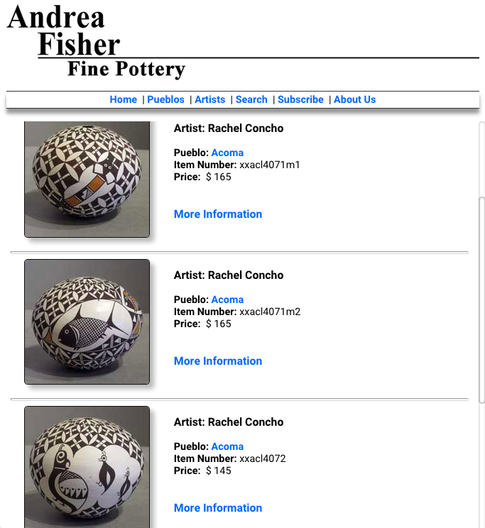 ACOMA RAQUEL CONCHO POTTERY FOR SALE http://www.andreafisherpottery.com/cgi-bin/artistlnk.cgi?Rachel_Concho
