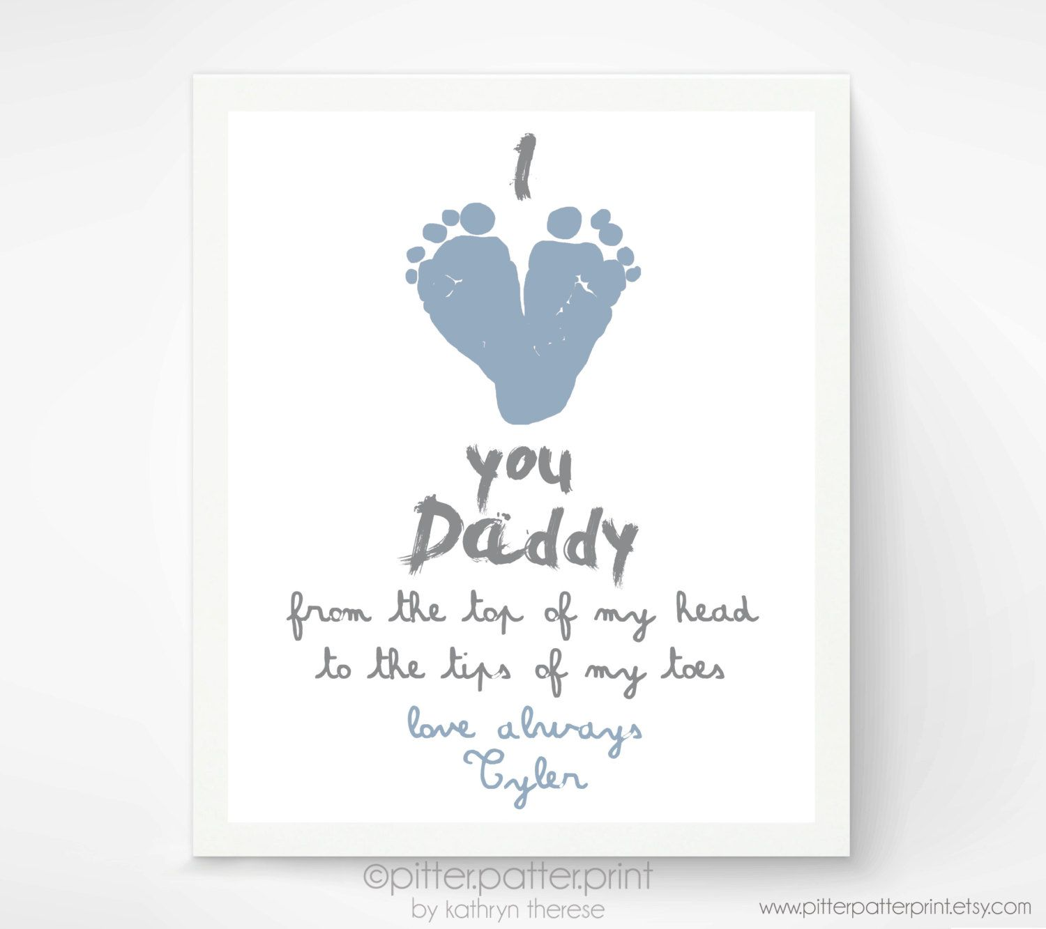 Personalizedfathersdaygiftfornewdadibypitterpatterprint personalized fathers day gift for new dad i love you daddy baby footprint art print gift for father daddy papa negle Gallery