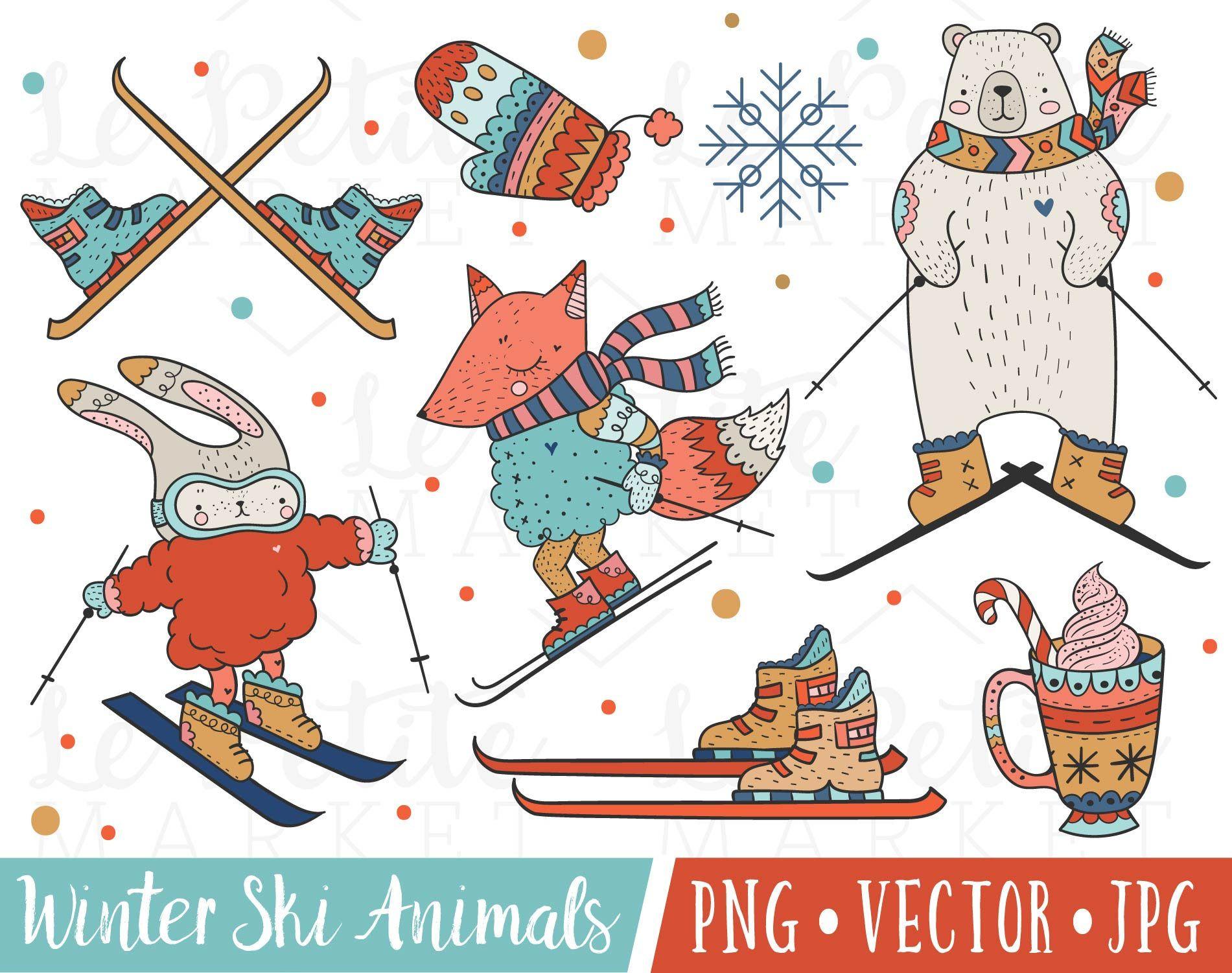 Cute Winter Animals Clipart Cute Ski Clipart Skiing Animals Etsy Animal Clipart Winter Animals Clip Art