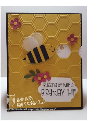 view finder card, buzzing by, movement cards, punch art bee, Stampin' Up!