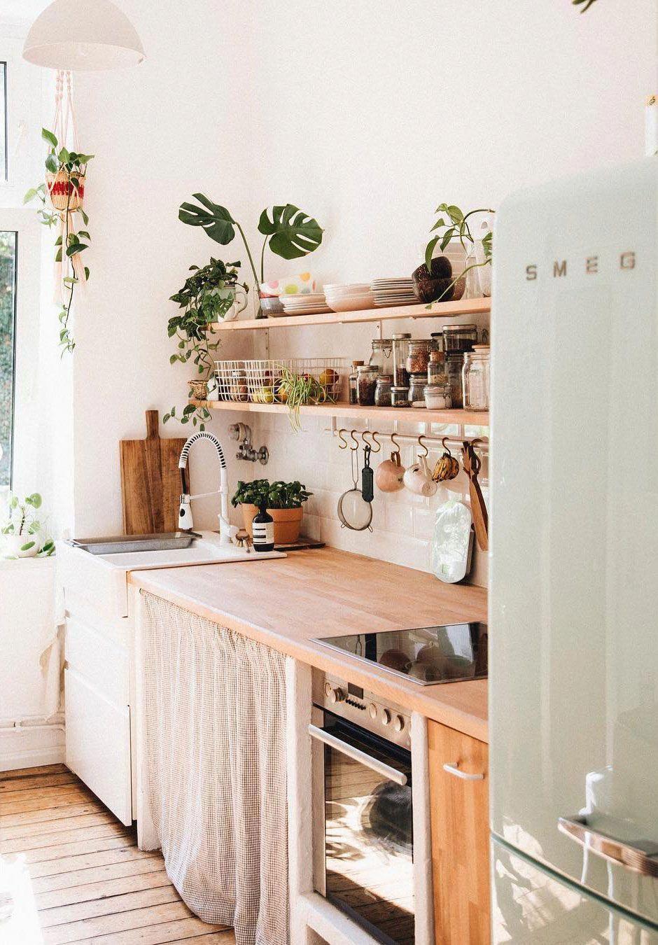 mint green smeg in tiny bohemian kitchen via herz und blut on instagram sfgirlbybay on kitchen interior boho id=75768