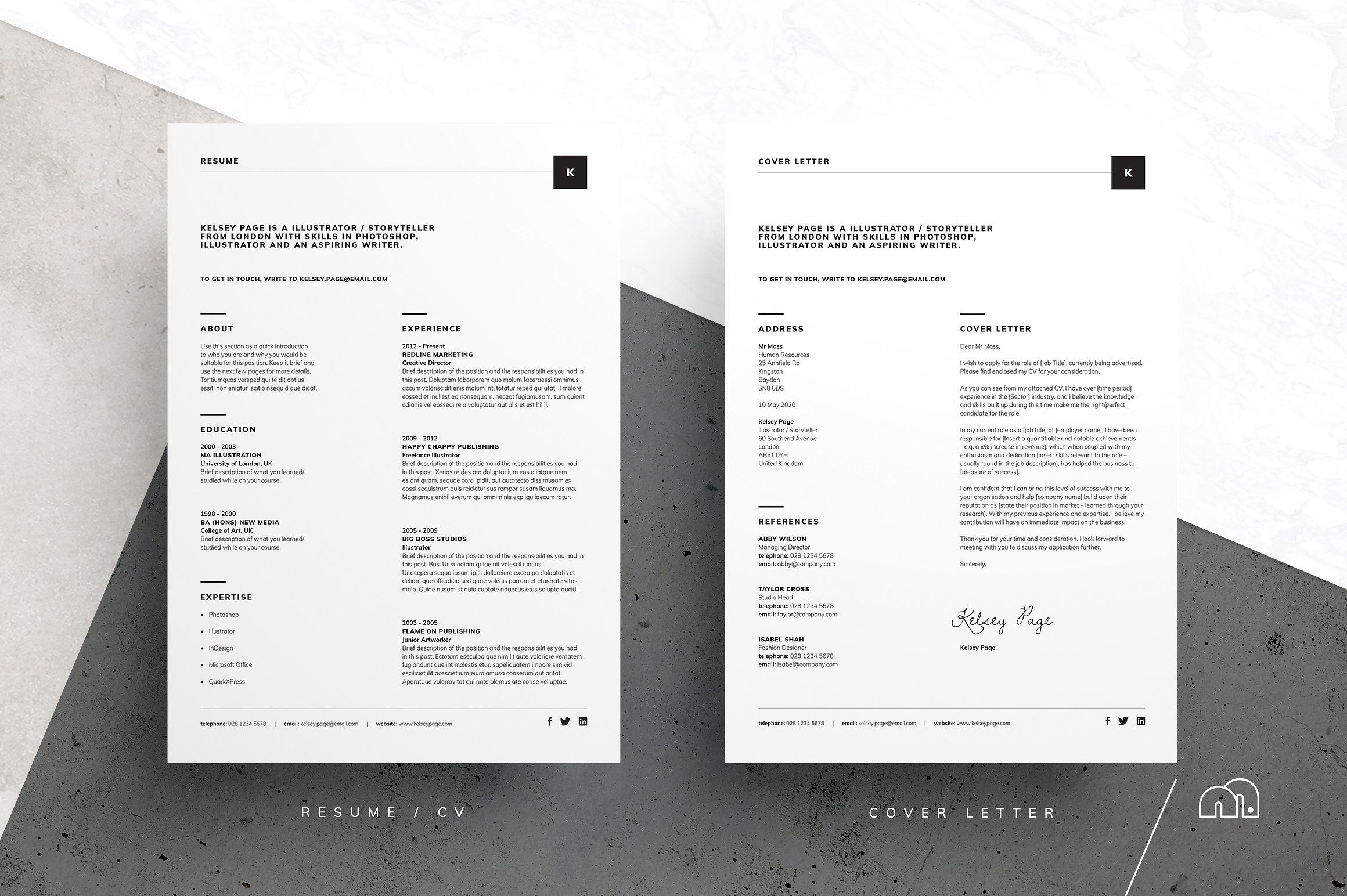 ResumeCv  Kelsey By Bilmaw Creative On Creativemarket Resume