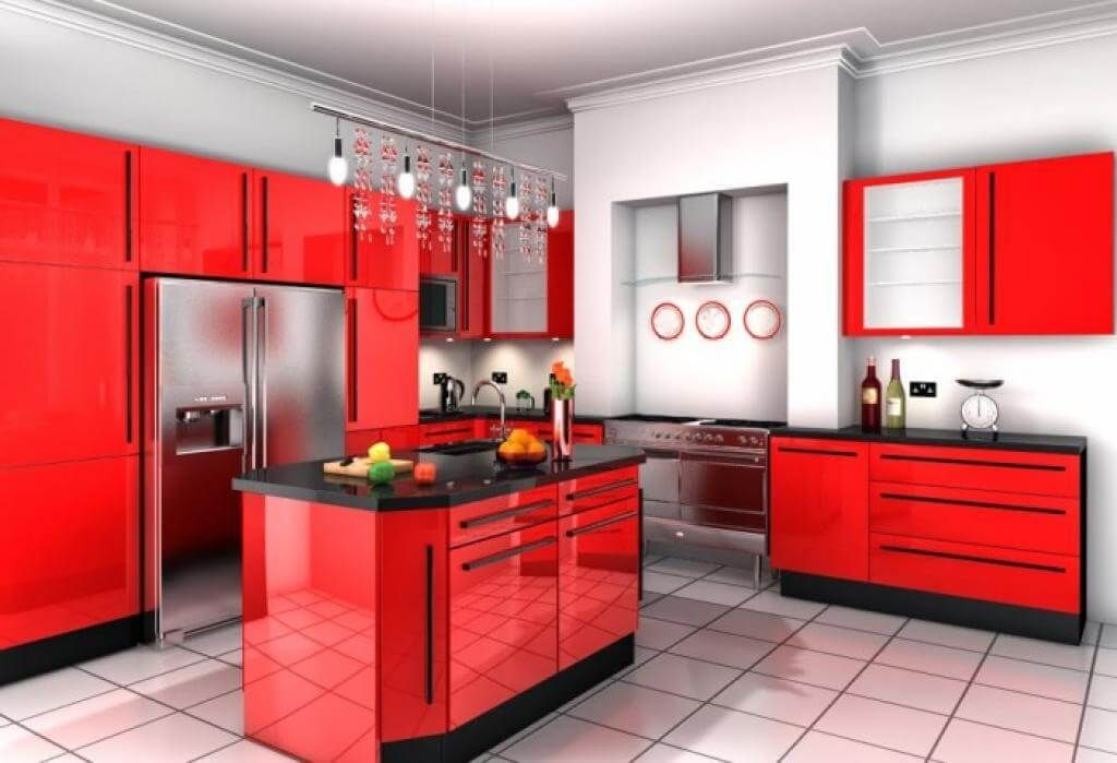 Modern Red Kitchen Ideas Cool Inspiration Design