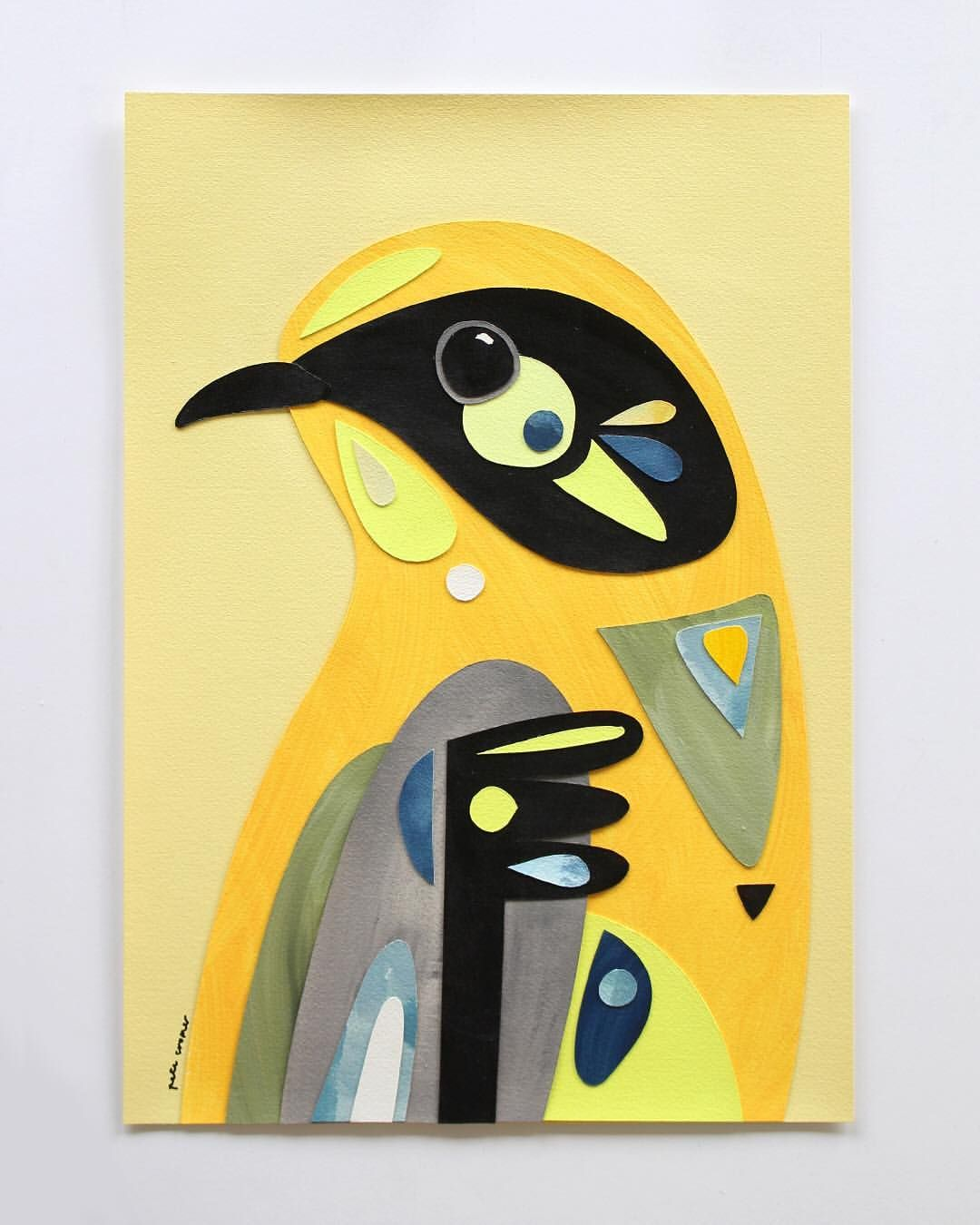 Helmeted Honeyeater Collage Acrylic On 300gsm Arches Watercolour