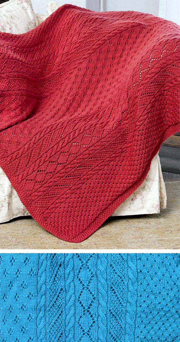 Free Knitting Pattern for 16 Row Repeat Lace Panel Throw - Sample afghan with 8 different stitch variatons of lace, cable, and texture. All are knit together with a 16 repeat overall (some are 8 row repeated twice). Designed by Margret Willson. Aran weight yarn. #afghanpatterns