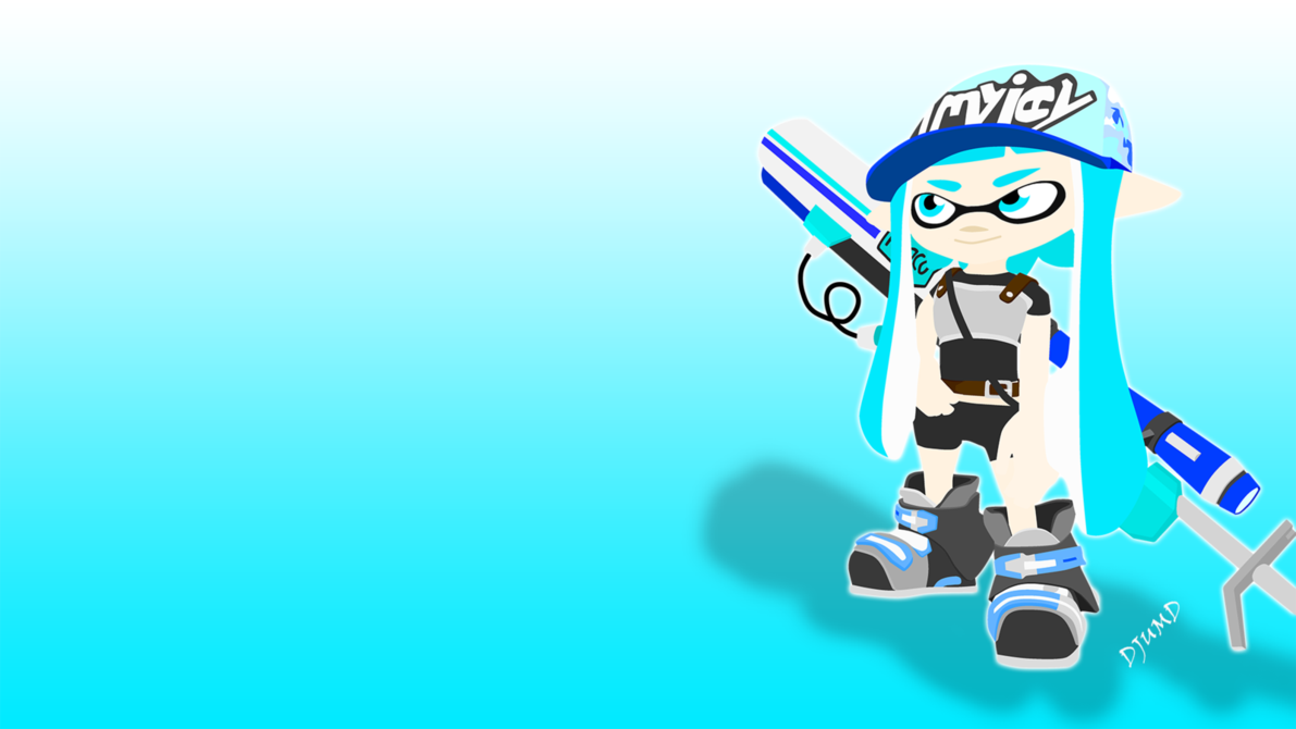 Splatoon - Inkling girl with E-liter 3K Scope by DJUMD.deviantart.com on @DeviantArt