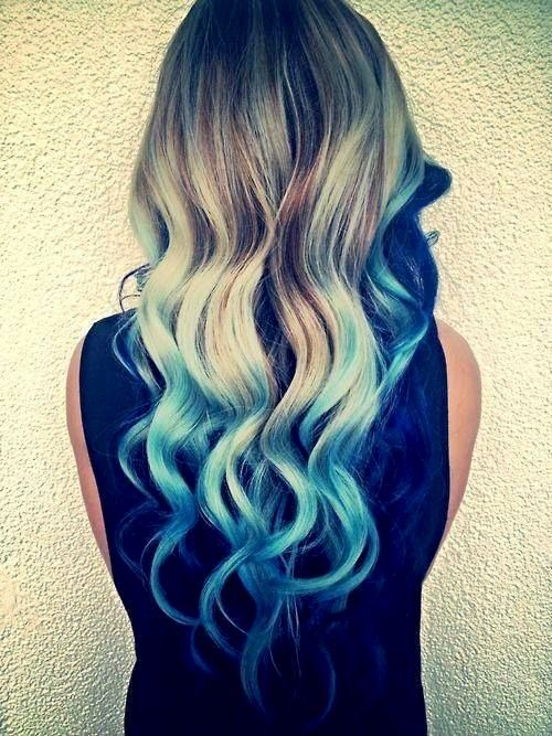 Turquoise Blue Tips Hair Brown Blonde Hair Blue Ombre Hair