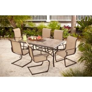 Hampton Bay Belleville 7 Piece Patio Dining Set FCS ST at