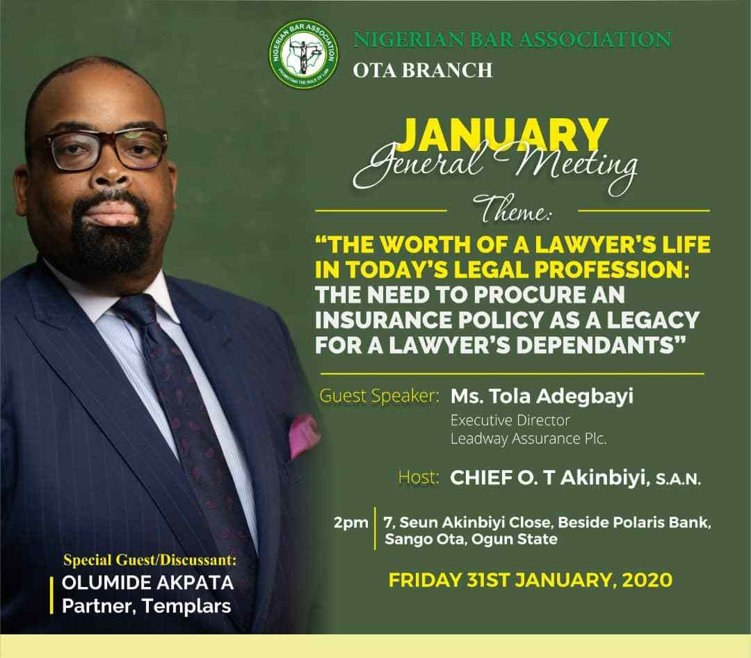Olu Akpata To Discuss The Need To Procure An Insurance Policy As