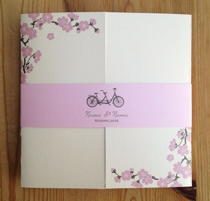 wedding invitation text format for friends%0A Spring vintage pink tandem bicycle blossom cover   wedding invitation