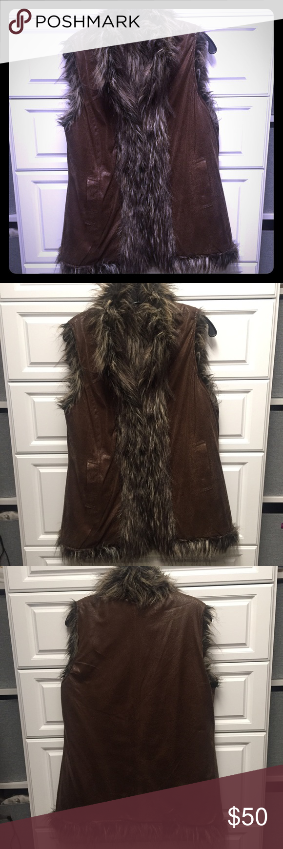 Reversible Faux Fur and Suede Vest Faux suede with faux fur trim, or reverse to all faux fur. Pockets on both sides. Longer length - comes down to hips. Kial Jackets & Coats Vests