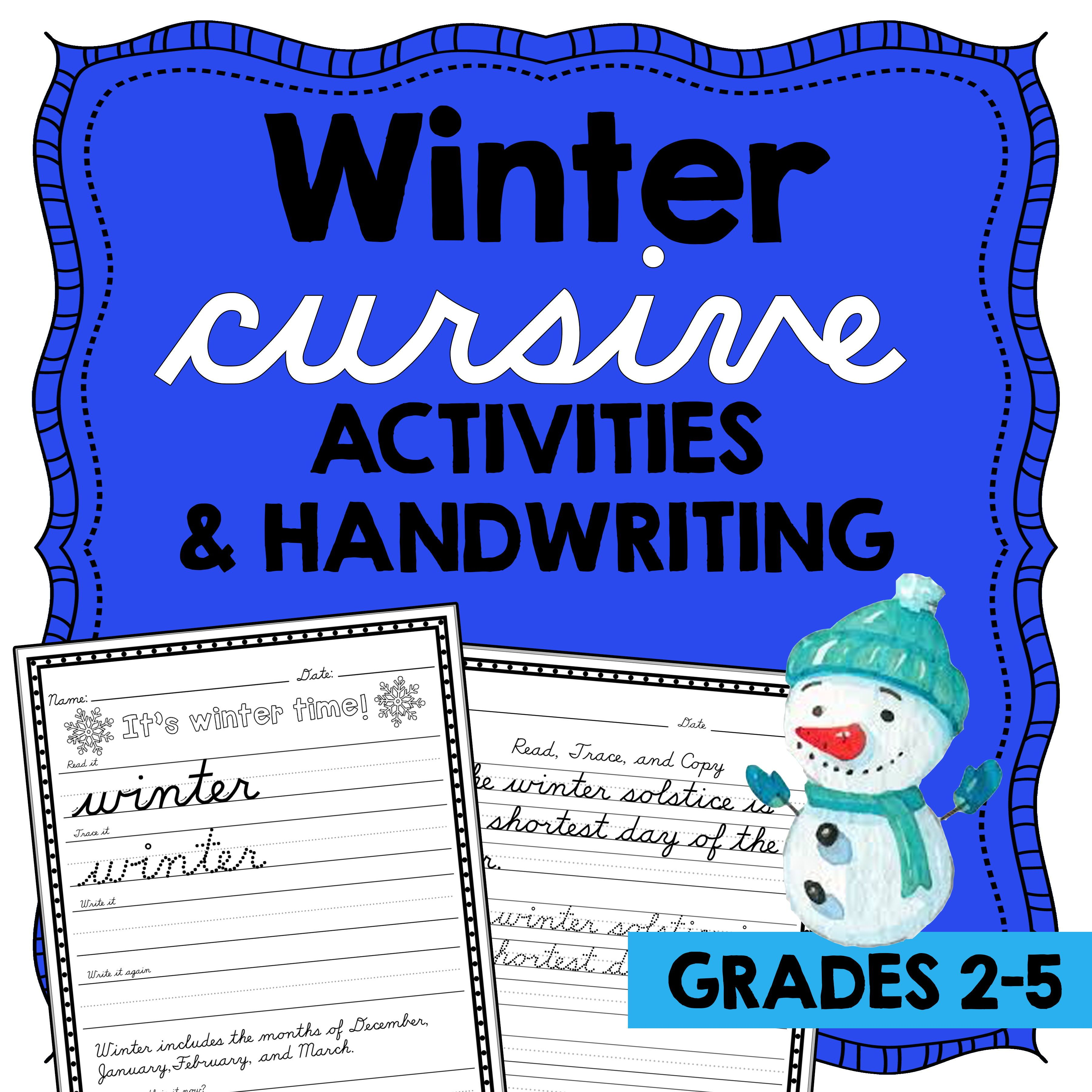 Winter Cursive Handwriting Practice D Nealian Handwriting