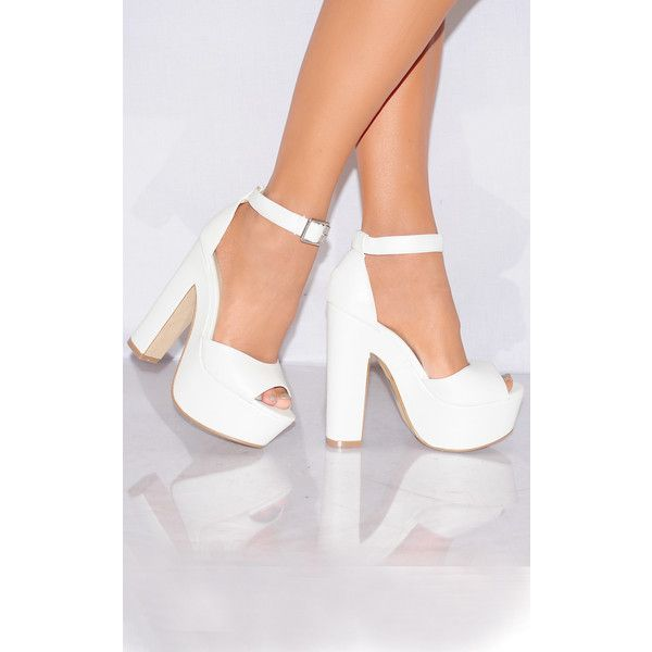 0ce3076b3ecd Shoe Closet White Ankle Straps Strappy Sandals Peep Toes High Heels ( 45) ❤  liked