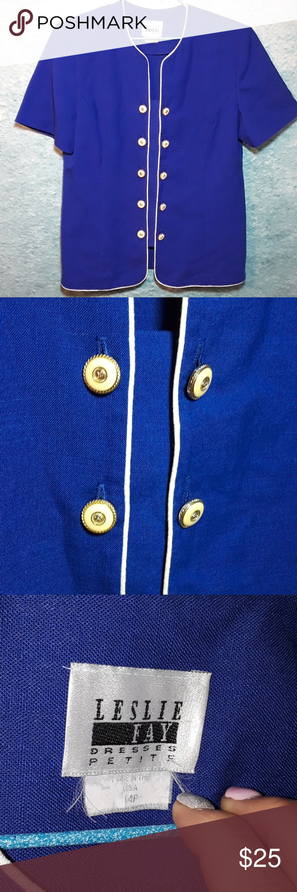 883b7f340c21 Vintage Leslie Fay embeshed blazer size 14P This gorgeous royal blue blazer  is by Leslie Fay