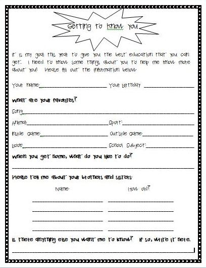 Worksheet Get To Know You Printable back to school forms getting know you student survey survey