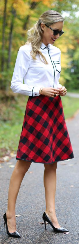 Red And Black Tartan Knee-length Skirt by The Classy Cubicle