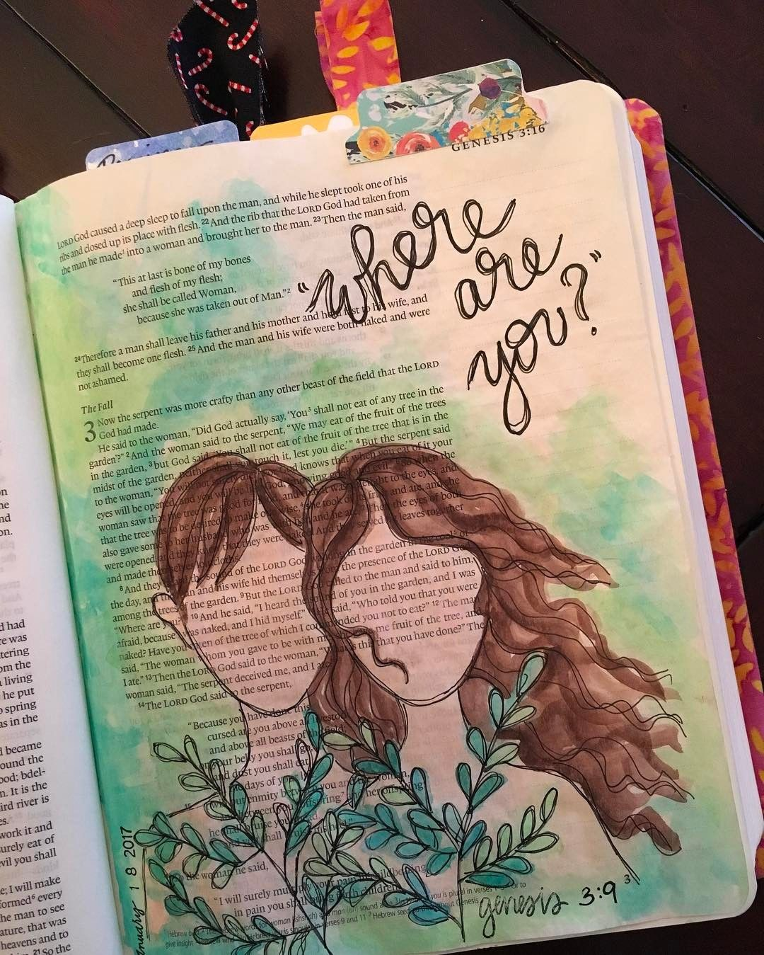 Bible Art Journaling Adam And Eve Created