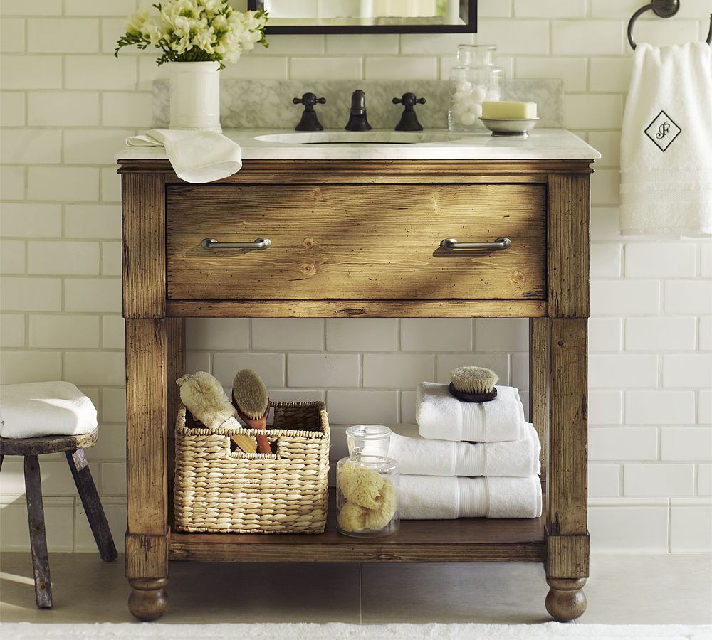 Love This Console With Tile Surround Small Rustic Bathrooms Rustic Bathroom Vanities Simple Bathroom