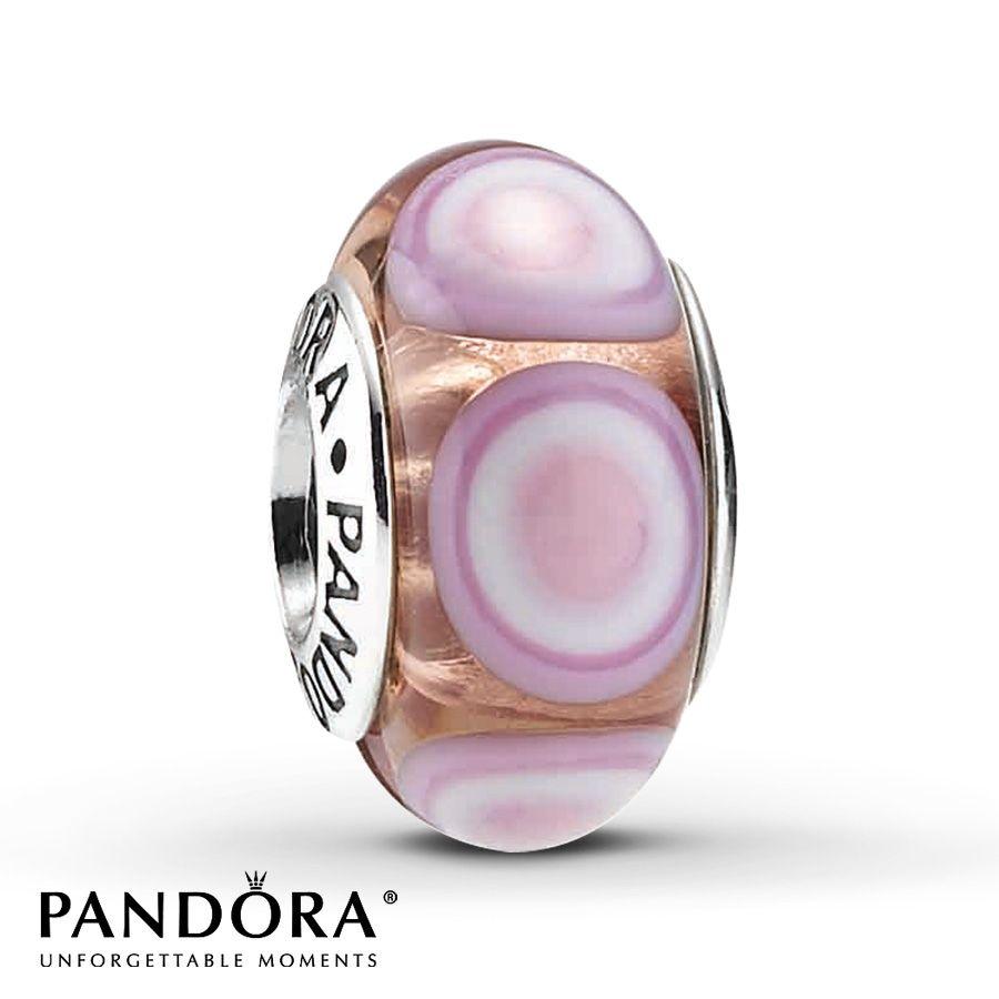 ecee95e94 PANDORA CHARM PINK GLASS STERLING SILVER - $35   Mom's Pandora ...