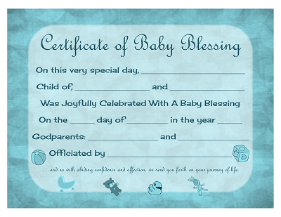 Certificate Of Baby Blessing  Free Printable Template  Prayers