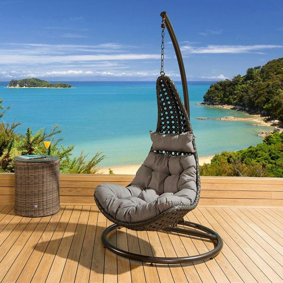 Garden Furniture Pod black rattan single person hanging chair with grey cushion covers