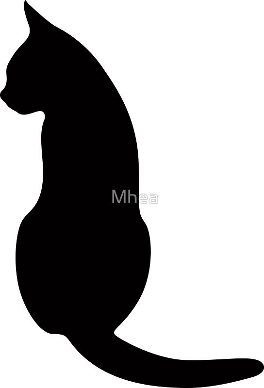 cat sitting down silhouette sticker