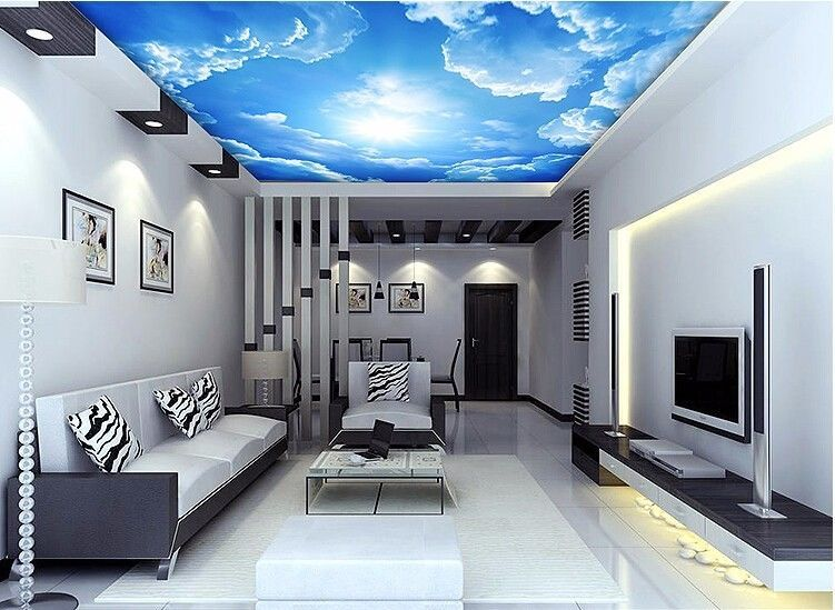 3d wallpaper mural clouds sky blue and white background for Cloud wallpaper mural