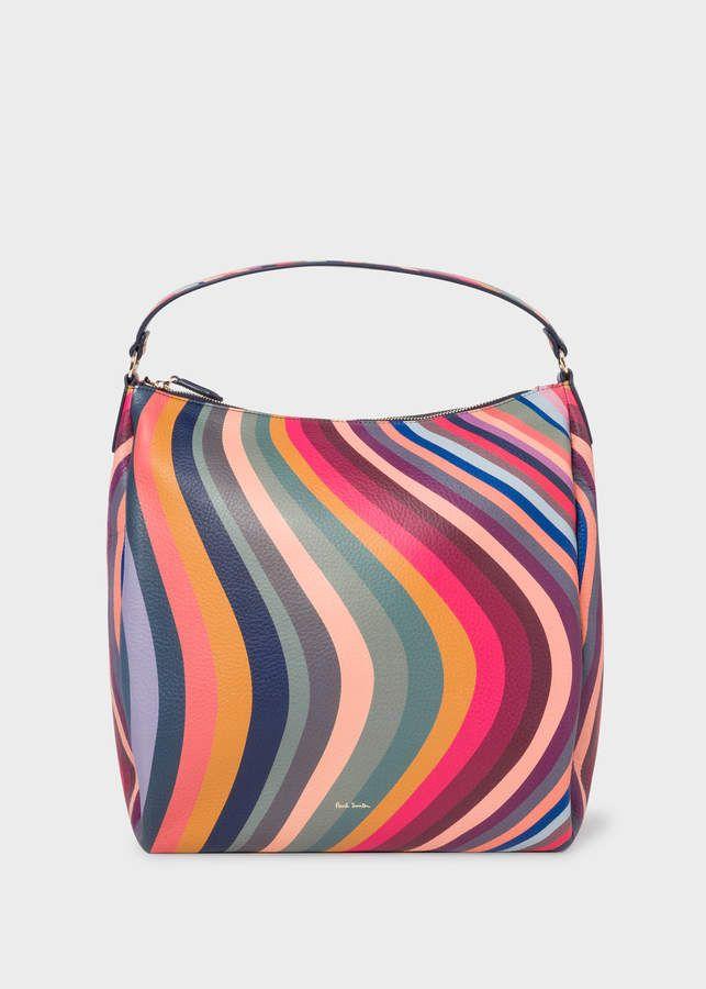 Japanese Art Hippy Swirls Small Black Canvas Shoulder Bag
