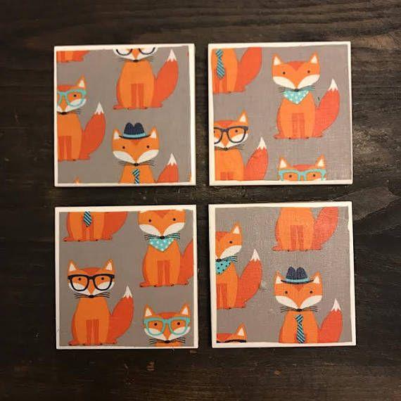 Fox  Handmade Ceramic Tile Coasters  Set of 4  4x4 inches