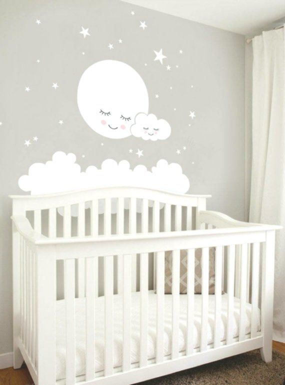 Mond Wolken Und Sterne Wandtattoo Vinyl Wandaufkleber Kinderzimmer