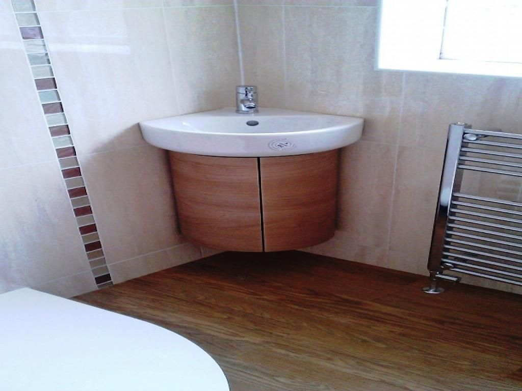 . Bathroom  Gold Modern Corner Bathroom Vanity With Wall Cabinet And