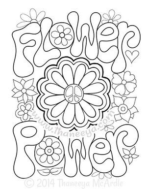 Flower Power Coloring Page By Thaneeya Mcardle Coloring Pages