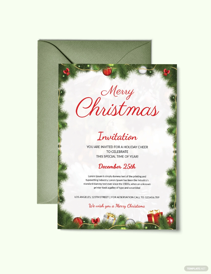 FREE Simple Christmas Party Invitation Template - Word  PSD