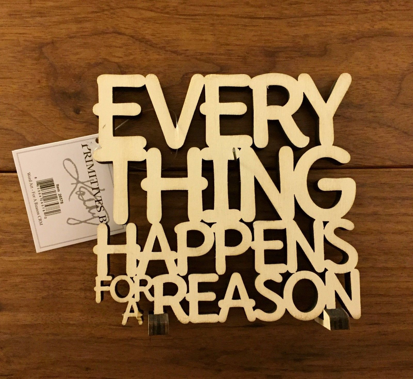EVERYTHING HAPPENS FOR A REASON wooden word art 5 x 4-3/4 Primitives ...