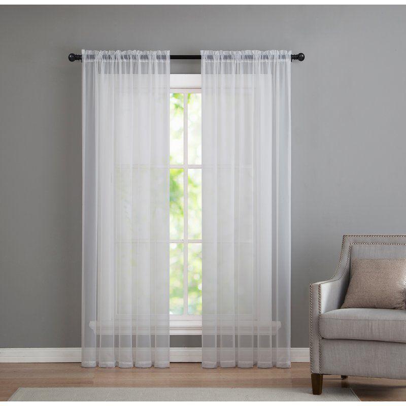 Kenton Solid Sheer Rod Pocket Curtain Panels Panel Curtains