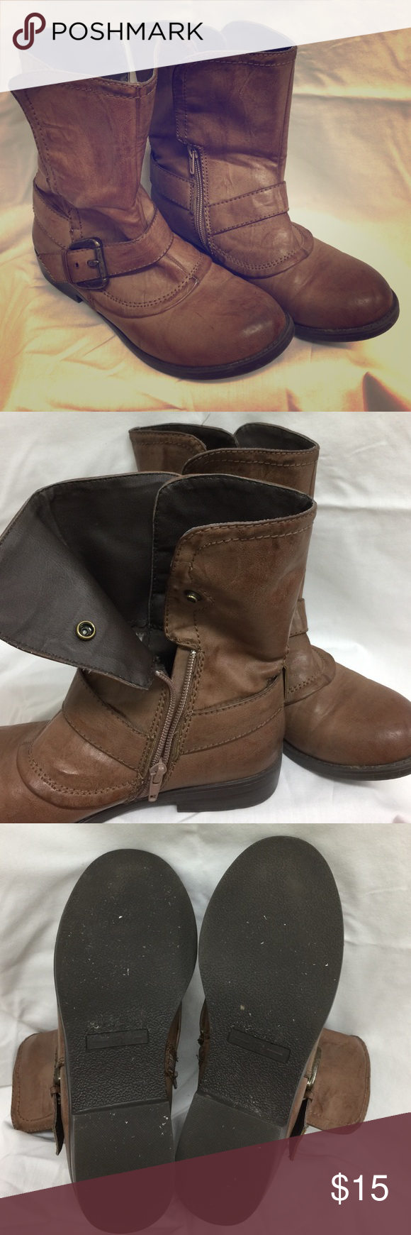 WMS 7 DAX R2 Brown Boots Brown ankle boots inside foot zippered and button, outside  button with over the  boot adjustable buckle. Barely worn for I have way too many shoes. Size 7, true to size. R2 Shoes Ankle Boots & Booties