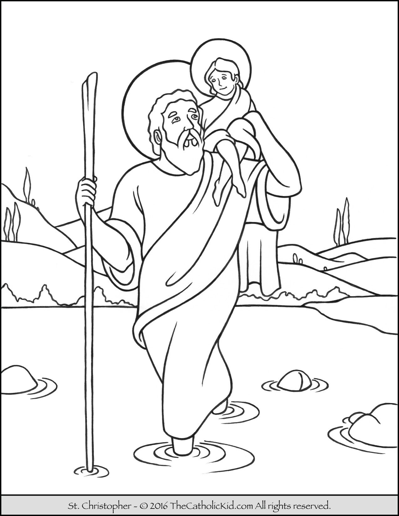 Saint Christopher Coloring Page - The Catholic Kid | Catholic Saints ...