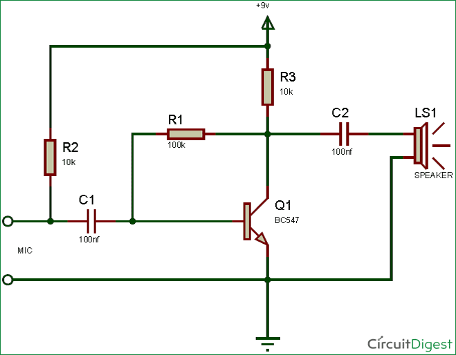simple preamplifier circuit with mic and speaker electronic rh pinterest com Loudspeaker Design Diagram Dynamic Loudspeaker Diagram