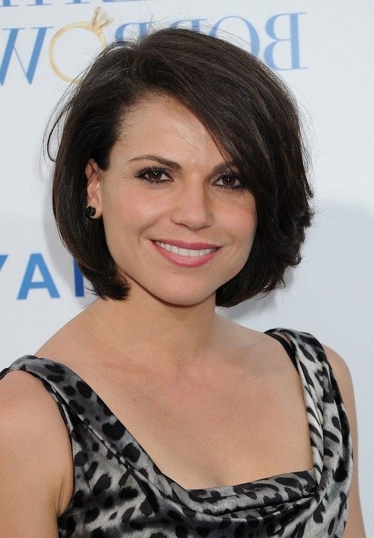 Lana Parrilla Feminine Bob Hairstyle With Bangs Jpg 528 760 Thick Hair Styles Short Hairstyles For Thick Hair Short Hair Lengths