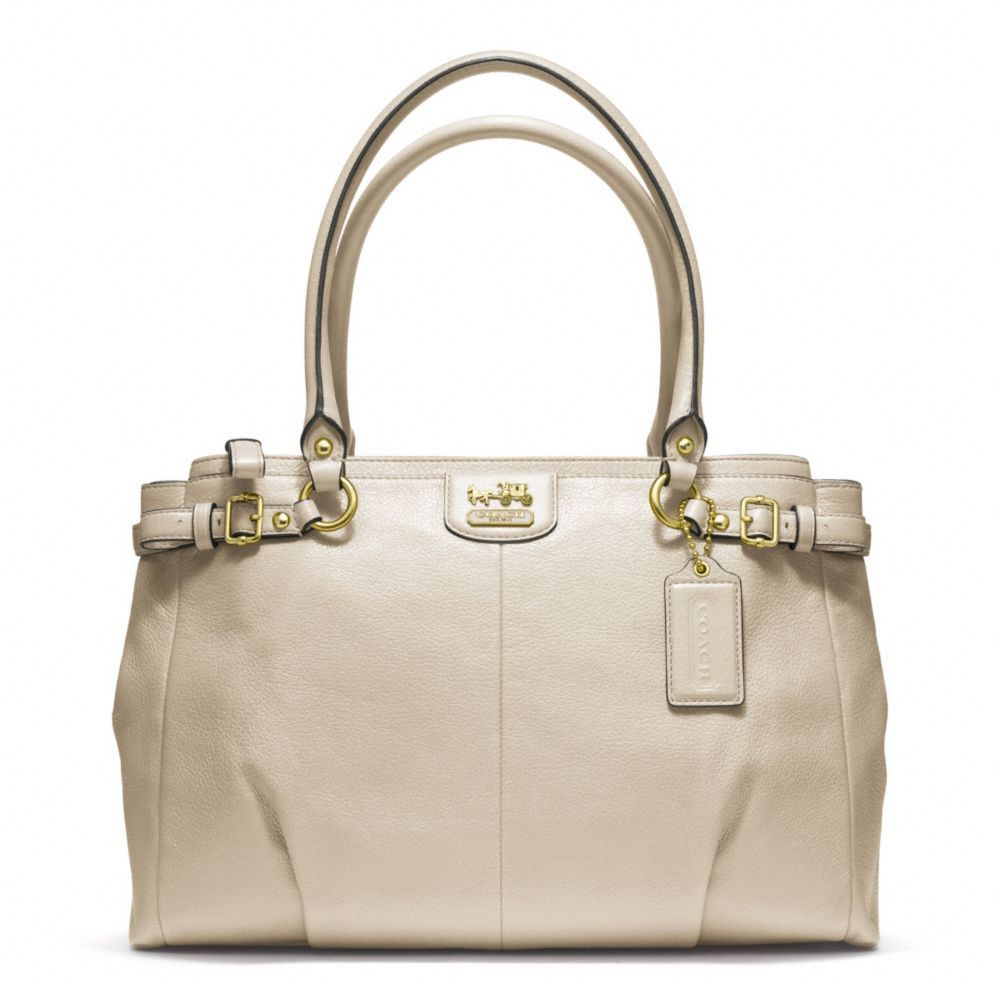 Coach S Madison Kara Leather Carryall In Brass Parchment I Have This Bag But It So Off White That Almost Colored