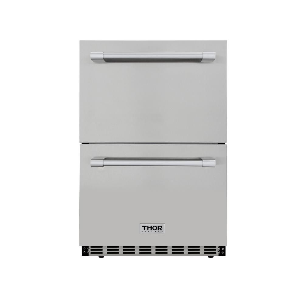 Thor Kitchen 4 7 Cu Ft Under Counter Double Drawer Refrigerator In Stainless Steel Hrf2401u The Home Depot Refrigerator Drawers Undercounter Refrigerator Outdoor Kitchen