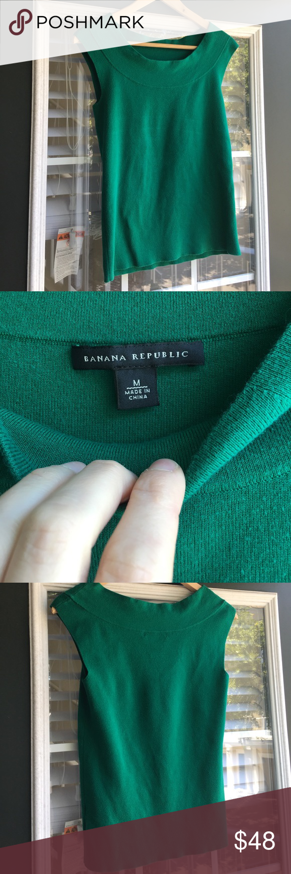 🐲🎋Emerald Green Sleeveless Banana Republic Top Gorgeous Emerald Green Sleeveless Top . Gently used, and cared for! Made by Banana Republic. It is a thicker material, soft to the touch. No stains or odors. I wore it with jeans and with work pants, and suits. Very versatile. Banana Republic Tops