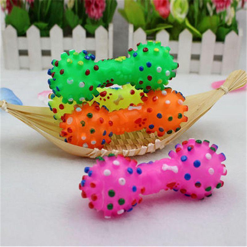 Los Mascotas Cachorro Sound Polka Dot Squeaky Toy Con Mancuernas De Goma De Mascar Juguete Divertido de La Venta Caliente