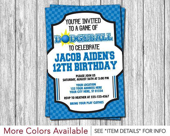 Dodgeball Birthday Invitation Sports Birthday Invitations Blue